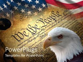 PowerPlugs: PowerPoint template with american symbols with American flag, eagle head and old historical documents