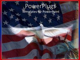 PowerPlugs: PowerPoint template with american symbols with waving flag of United States and Statue of Liberty