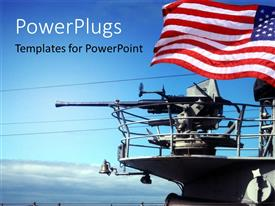 PowerPlugs: PowerPoint template with the American weapons in the sea with American flag in background