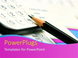 PowerPlugs: PowerPoint template with pencil and calculator on business documents with graphs