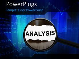 PowerPlugs: PowerPoint template with analysis concept where a magnifying glass analyzing financial data in the backdrop