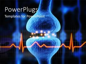 PowerPoint template displaying anatomy depiction of an active receptor with ecg wave and black color