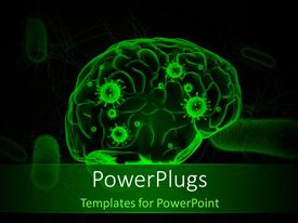 PowerPlugs: PowerPoint template with anatomy depiction of a human brain with viruses in green