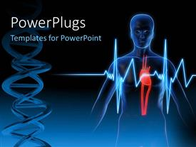 PowerPlugs: PowerPoint template with anatomy depiction of a human heart with ECG rays and medical symbol over dark background