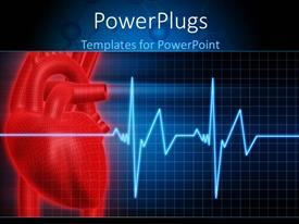 PowerPlugs: PowerPoint template with anatomy depiction of a human red heart and ECG graph over blue background