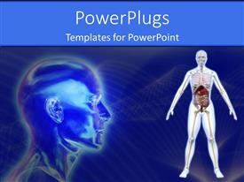 PowerPoint template displaying anatomy of the human body with a scan of the head on blue background