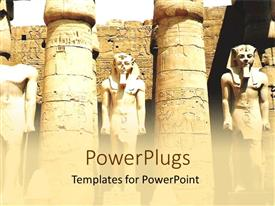 PowerPlugs: PowerPoint template with ancient Egyptian pharoah statues with columns, ruins, archaeology, Egypt