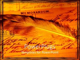 PowerPoint template displaying ancient feather on old memorandum document with ink text