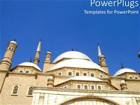 PowerPlugs: PowerPoint template with ancient looking white Egyptian building under clear blue sky