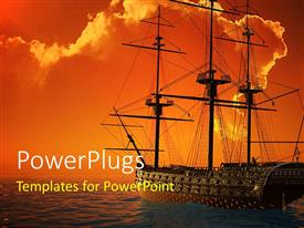 PowerPlugs: PowerPoint template with a ship sailing in the sea with clouds in background
