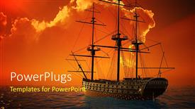 PowerPoint template displaying a ship sailing in the sea with clouds in background