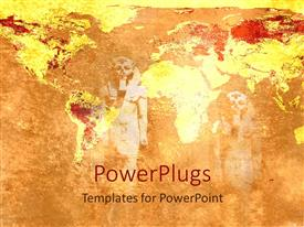 PowerPlugs: PowerPoint template with ancient statues egyptian statues fading in the background with old historical map of world