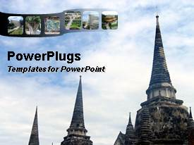 PowerPlugs: PowerPoint template with ancient temples in asian city cloudy sky