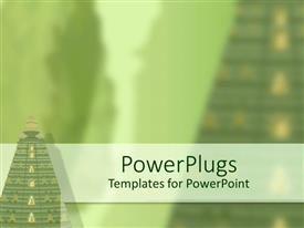 PowerPoint template displaying ancient temples in green, tropical, travel, religion, culture