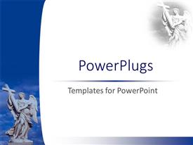 PowerPoint template displaying an angel holding the holy cross with clouds in the background