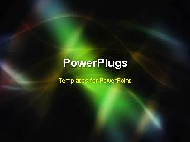 PowerPlugs: PowerPoint template with animated abstract depiction of colorful swirls on black background
