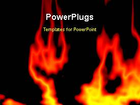 PowerPoint template displaying animated abstract fire burning on black background
