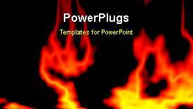 PowerPoint template displaying animated abstract fire burning on black background - widescreen format