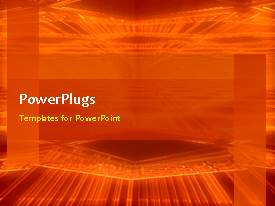 PowerPoint template displaying animated abstract network background with revolving orange colored poles