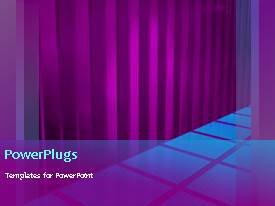 PowerPlugs: PowerPoint template with animated background of blue squares on floor with purple curtain folds
