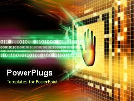 PowerPlugs: PowerPoint template with animated background depicting biometric security with haand scan and binary codes