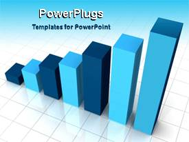 PowerPoint template displaying animated bar chart flashing shades of blue