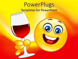 PowerPlugs: PowerPoint template with animated big yellow smiley face holding a wine glass