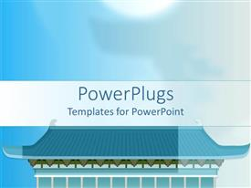 PowerPoint template displaying animated blue Chinese temple on a light blue background