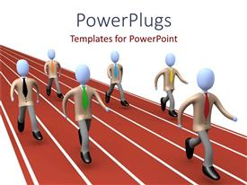 PowerPlugs: PowerPoint template with animated blue corporate looking human figures on race tracks
