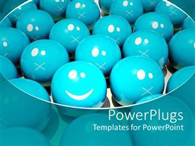 PowerPlugs: PowerPoint template with animated blue and white shiny smiley balls packed together