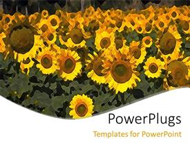 PowerPlugs: PowerPoint template with animated blurry depiction of a lot of sun flowers