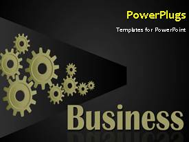 PowerPlugs: PowerPoint template with animated business background with connected cogwheels rolling