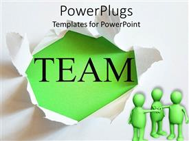PowerPlugs: PowerPoint template with animated depictio of three green humans joinning hands together