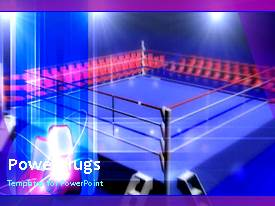 PowerPlugs: PowerPoint template with animated depiction of blue boxing ring with spotlights