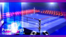 PowerPoint template displaying animated depiction of blue boxing ring with spotlights - widescreen format