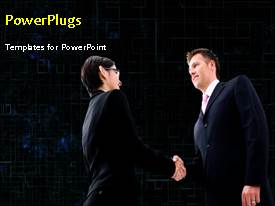 PowerPlugs: PowerPoint template with animated depiction of business agreement with two men shaking hands