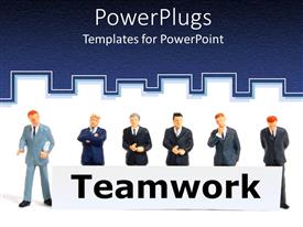 PowerPoint template displaying animated depiction of business men holding the text TEAMWORK