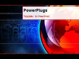 PowerPlugs: PowerPoint template with animated depiction with business professionals beside globe and binary digits