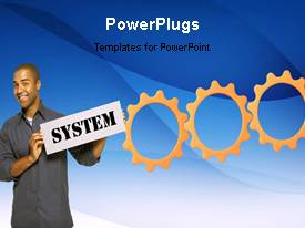 PowerPlugs: PowerPoint template with animated depiction with connected cogwheels and man holding business signpost