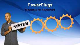 PowerPoint template displaying animated depiction with connected cogwheels and man holding business signpost - widescreen format