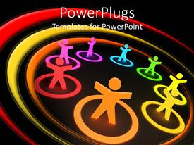 PowerPlugs: PowerPoint template with animated depiction of eights multi colored human figures in circles