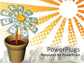 PowerPlugs: PowerPoint template with animated depiction of a flower pot with dollar bills as flowers