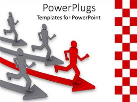 PowerPlugs: PowerPoint template with animated depiction of four grey and red humans running on arrows