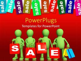 PowerPoint template displaying animated depiction of four red humans holding a sale text
