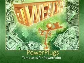 PowerPlugs: PowerPoint template with animated depiction of a gold colored human holding a key