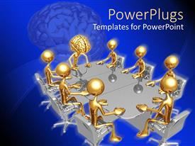 PowerPlugs: PowerPoint template with animated depiction of gold colored humans having a meeting