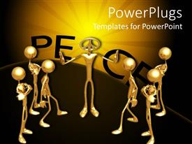 PowerPlugs: PowerPoint template with animated depiction of golden colored human figures on a brown background