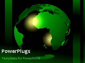 PowerPlugs: PowerPoint template with animated depiction of green themed earth globe in black background