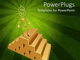 PowerPlugs: PowerPoint template with animated depiction of a human climbing gold bars with dollar sign head