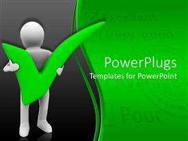 PowerPlugs: PowerPoint template with animated depiction of a human figure carrying a green pass mark